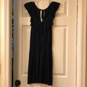 Guess flutter-sleeve navy dress small